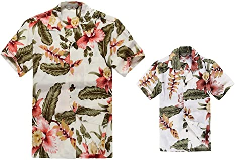 Matching Father Son Hawaiian Luau Outfit Men Shirt Boy Shirt Shorts Cream Rafelsia
