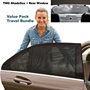 Premium Rear Window Sun Shade Plus Two (2) ShadeSox Universal Fit Car Window Baby Sun Shades!   Universal Baby Sun Shade Travel Kit Bundle (3 Piece) for Cars and SUV's   Travel eBook Included!