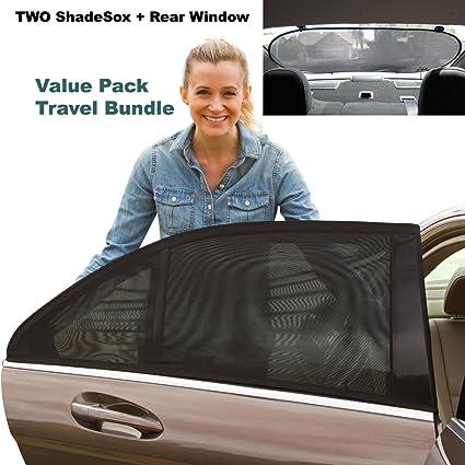 ShadeSox Premium Rear Window Sun Shade Plus Two (2) Universal Fit Car  Window Baby Sun Shades!  c9d7e390cfb1