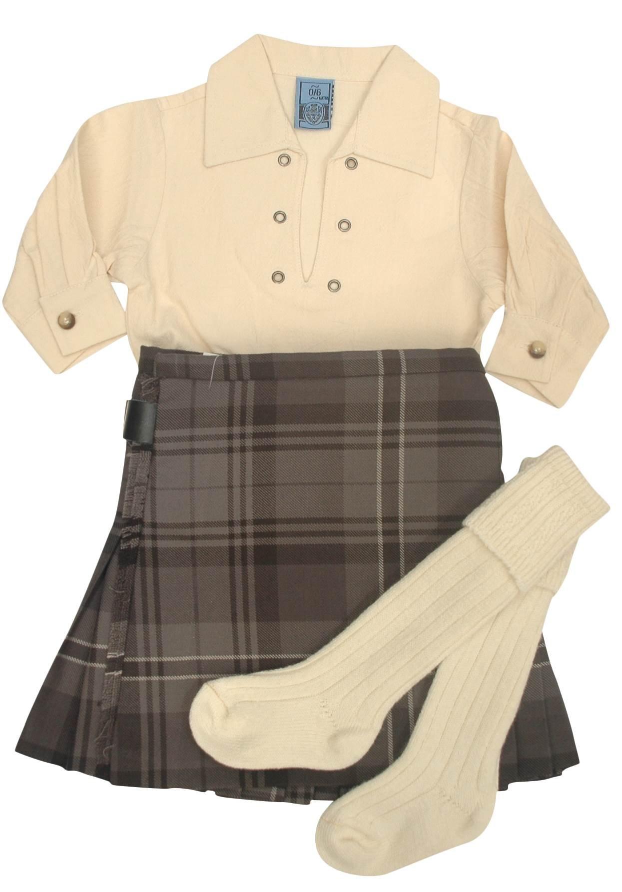 Boys Hamilton Grey Tartan Kilt Outfit Set with Hose and Shirt (0-12 Months)