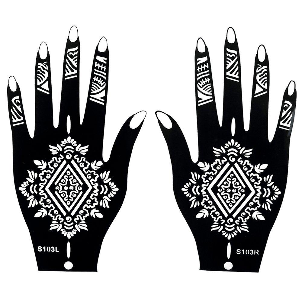 8 Hojas H enna Tatuaje Stencils Plantillas de Mehndi tatuaje Set 1 - desechable autoadhesivo para el tatuaje de brillo tatuaje, los tatuajes del aerógrafo Tie henna1