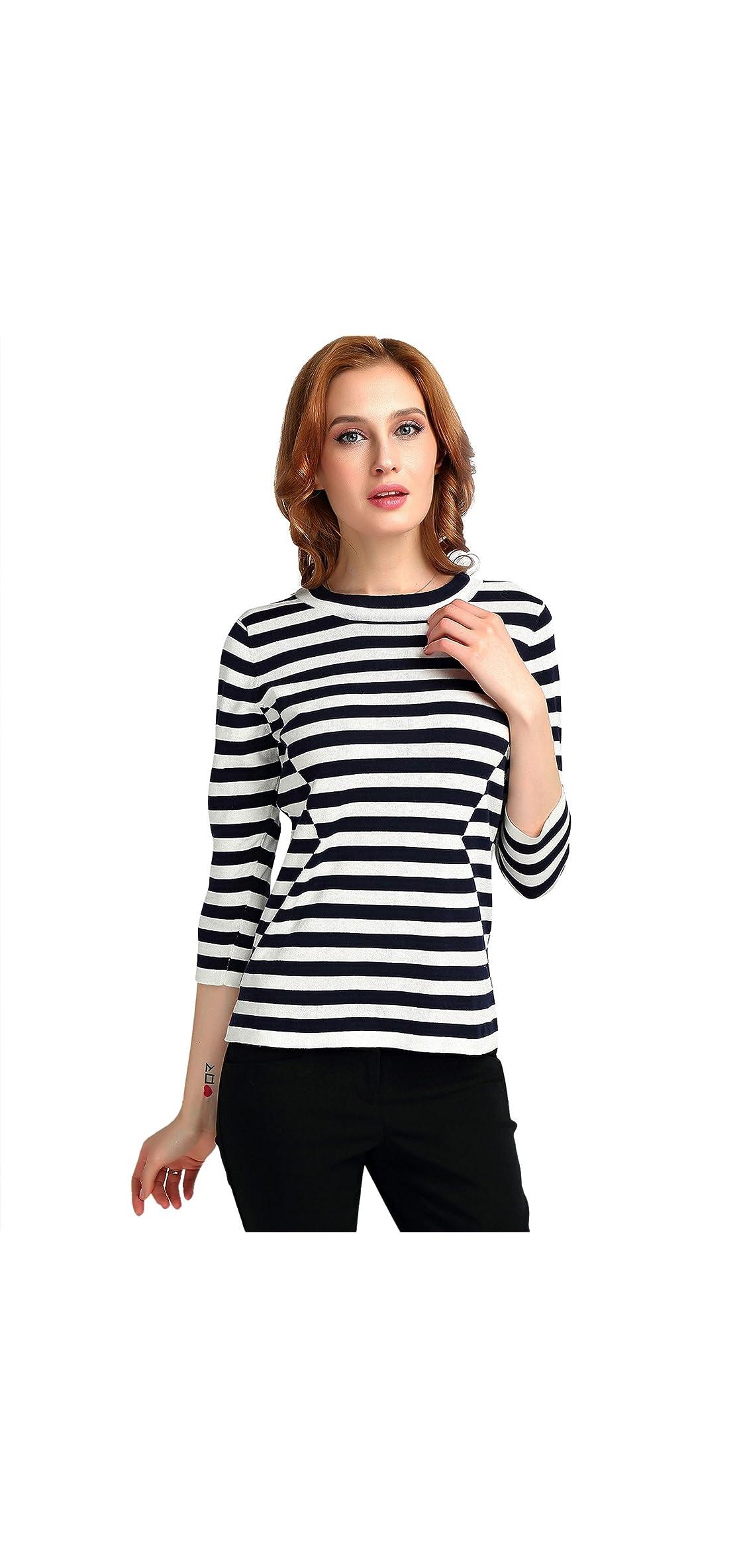 Black White Stripe Top Sweater / Sleeves For Women