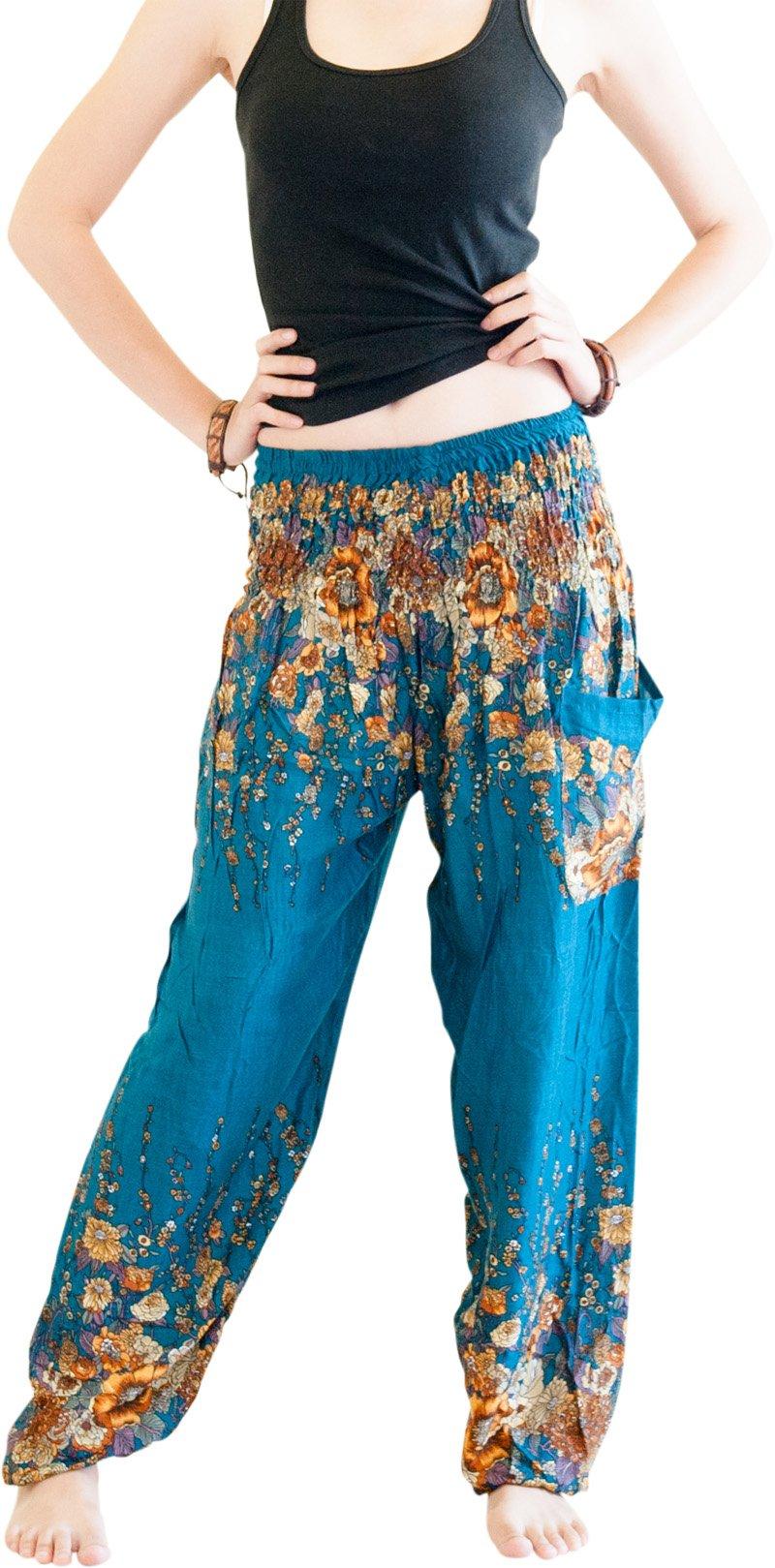 Flora Roses Harem Pants Women's Bohemian Pants (Free Size US: 0-14, Teal)