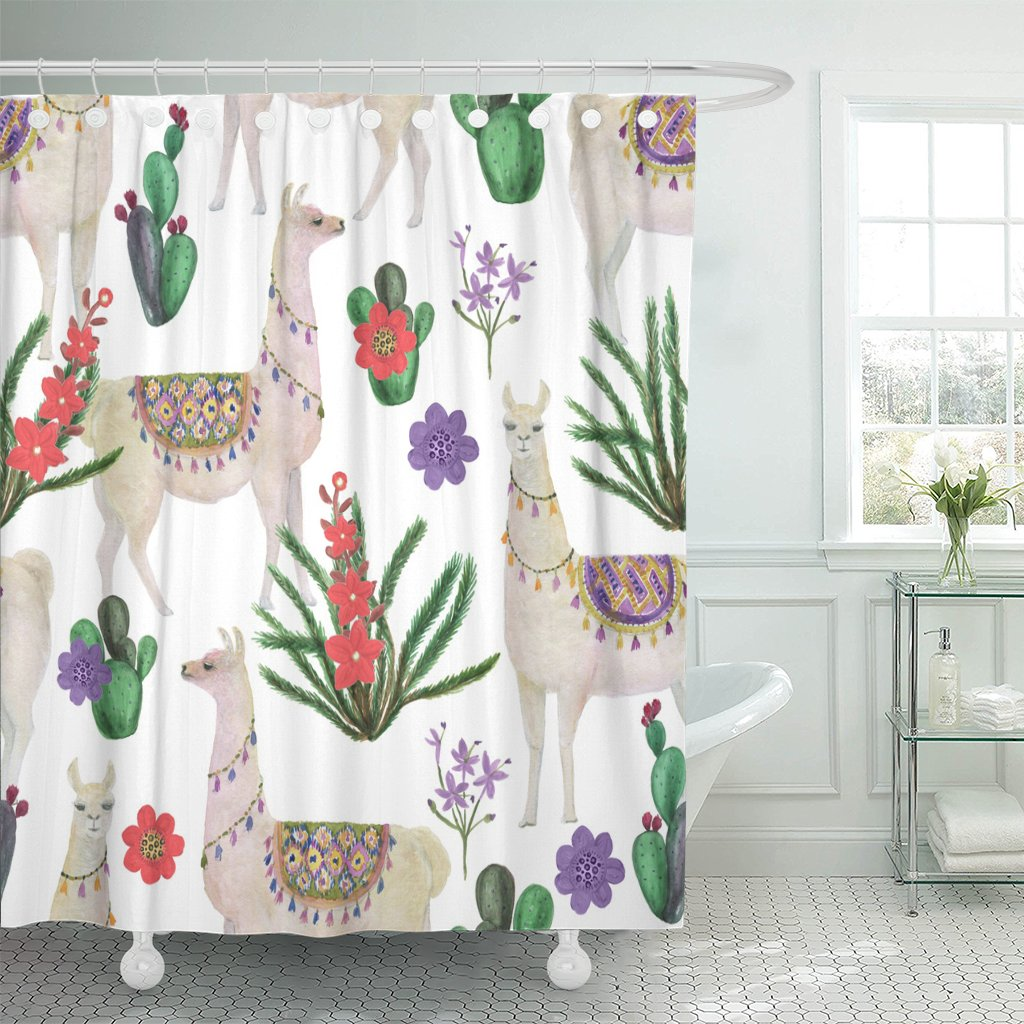 Emvency Shower Curtain Peru Watercolor Painting Llamas and Cacti Alpaca America Animal Waterproof Polyester Fabric 72 x 78 inches Set with Hooks