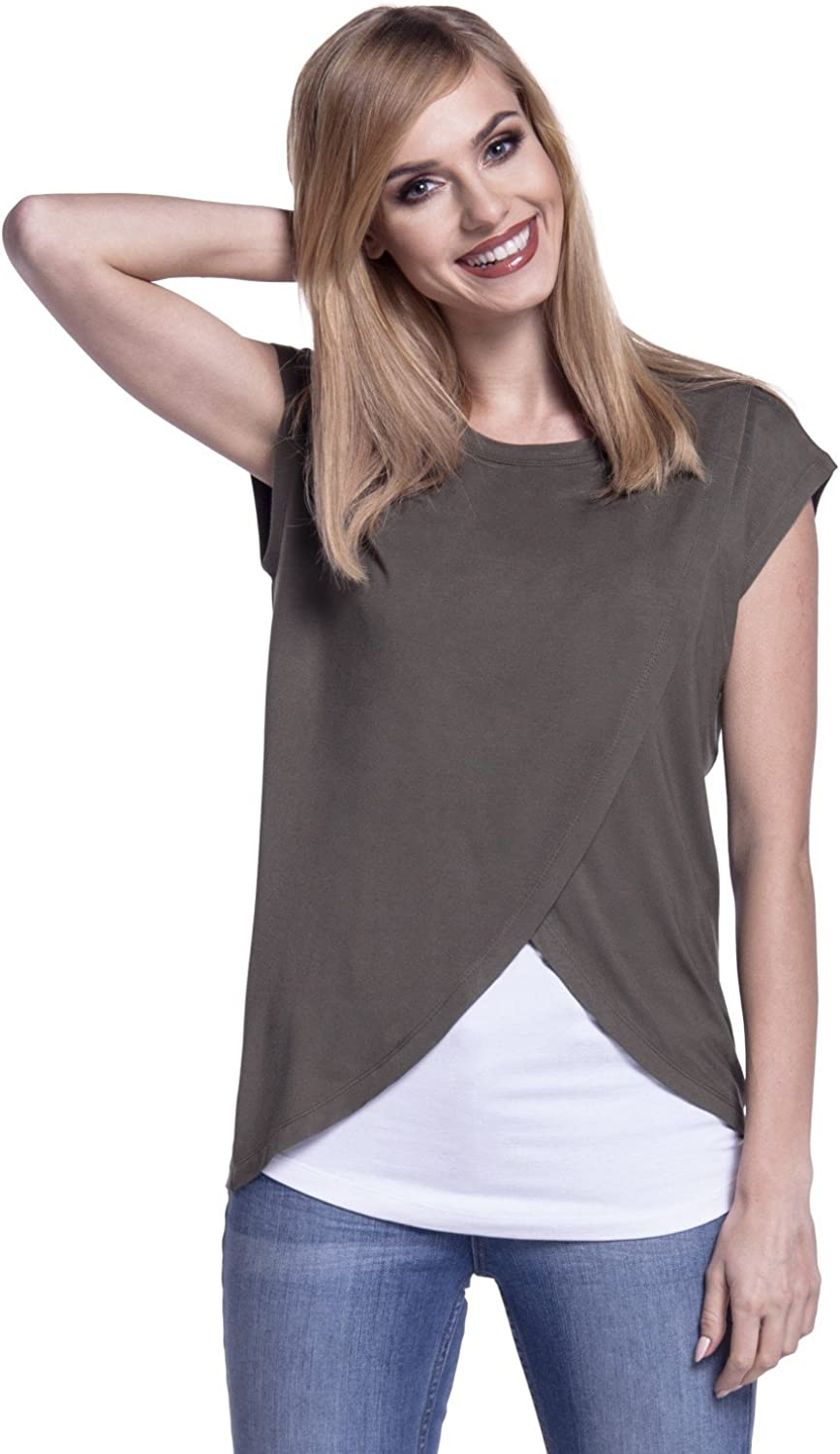 448p Happy Mama Double Layer Womens Maternity Nursing Wrap Top Cap Sleeves