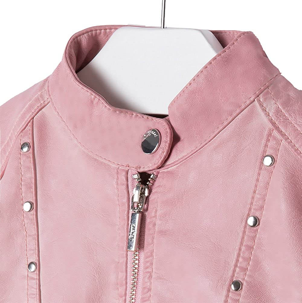 Mayoral Pink Leatherette Jacket with Rivets