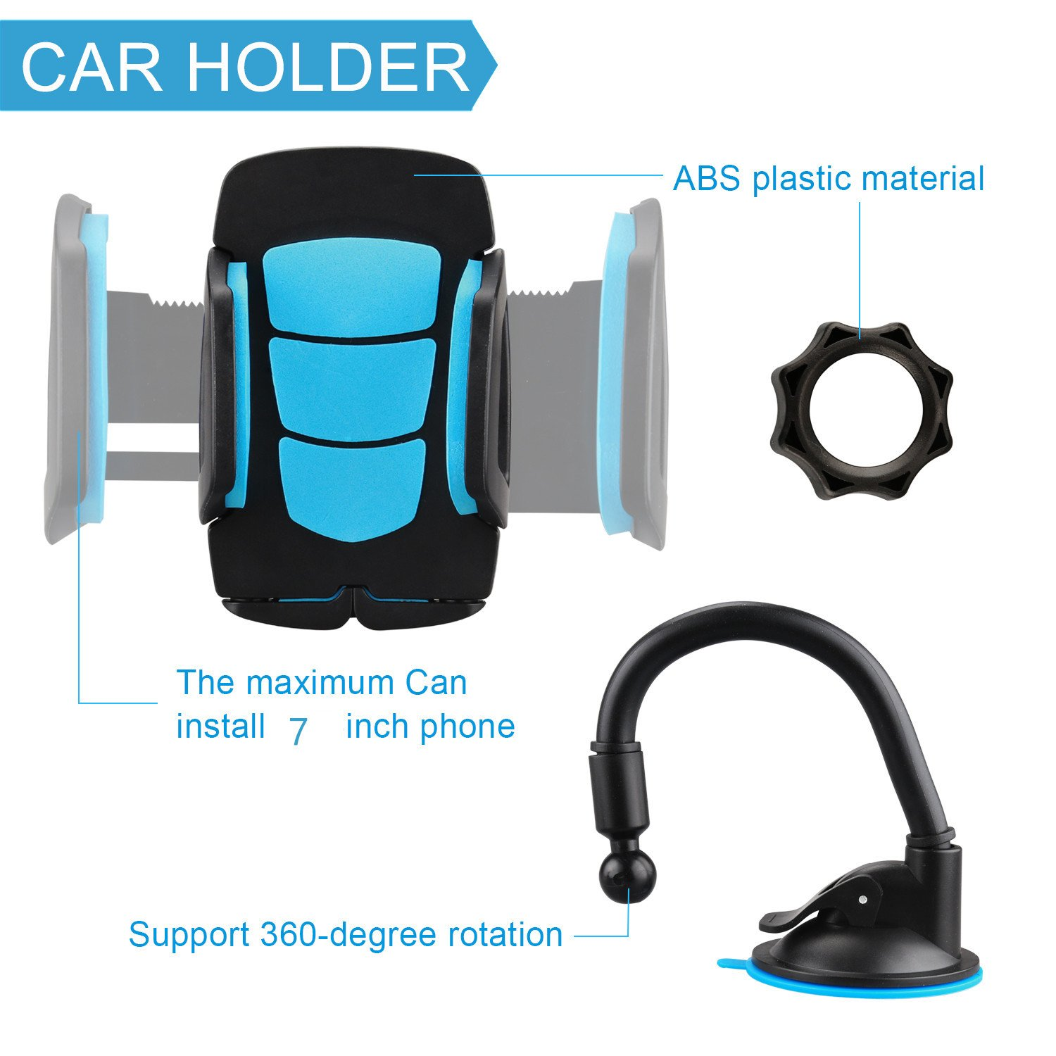 Amazon com car holder universal windshield cell phone holder cradle flexible 360 rotating car mount for almost smartphone iphone 7 7plus galaxy s7 s7edge