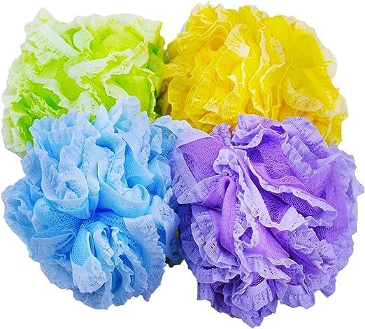 Pack de 4 respetuoso con el medio ambiente de malla y encaje de baño y ducha puf esponja, Color aleatorio: Amazon.es: Hogar