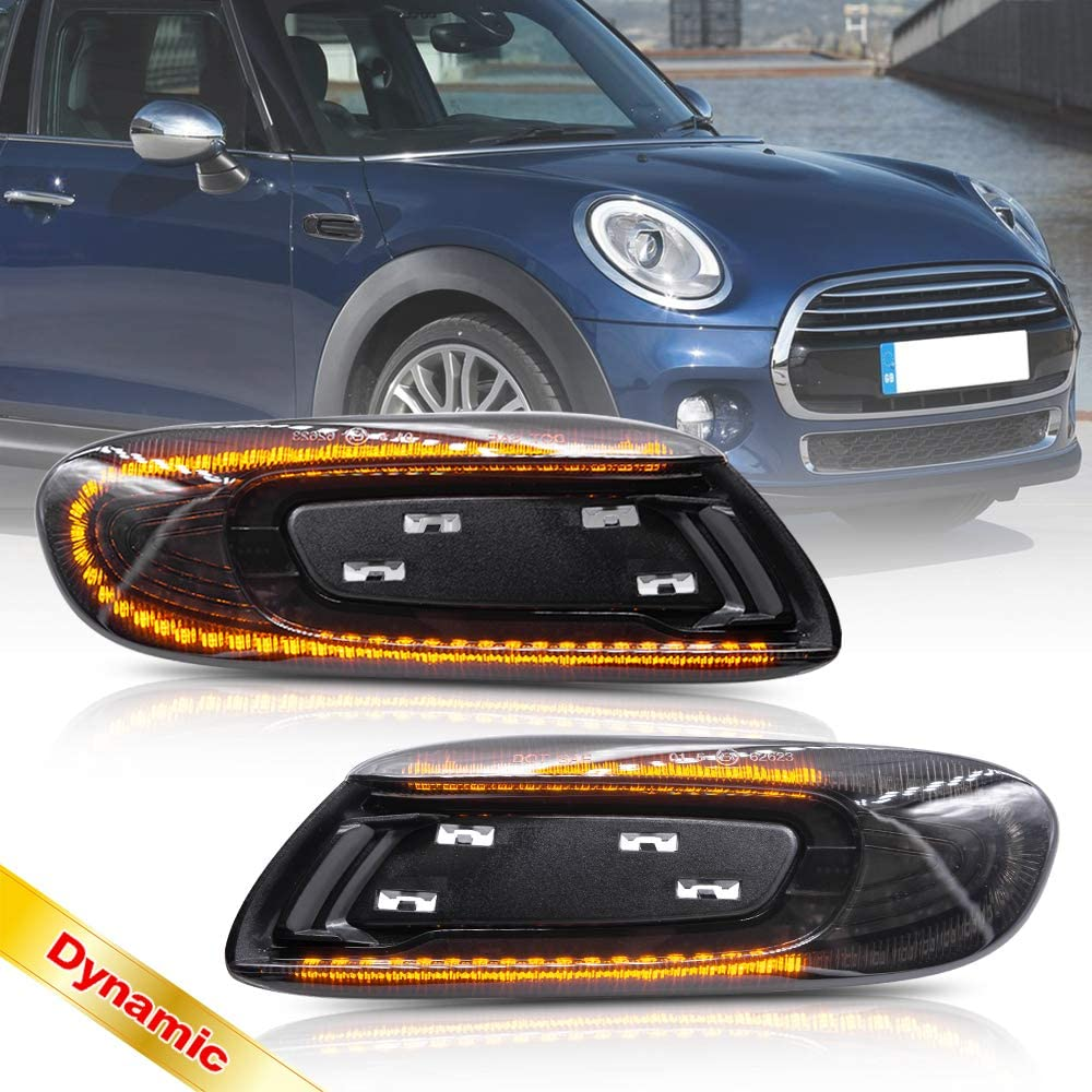 Cooper One Hatch F55 F56 Convertible F57 2x Black Smoked Lens Side Indicator Amber LED Marker Repeater Light For 2013