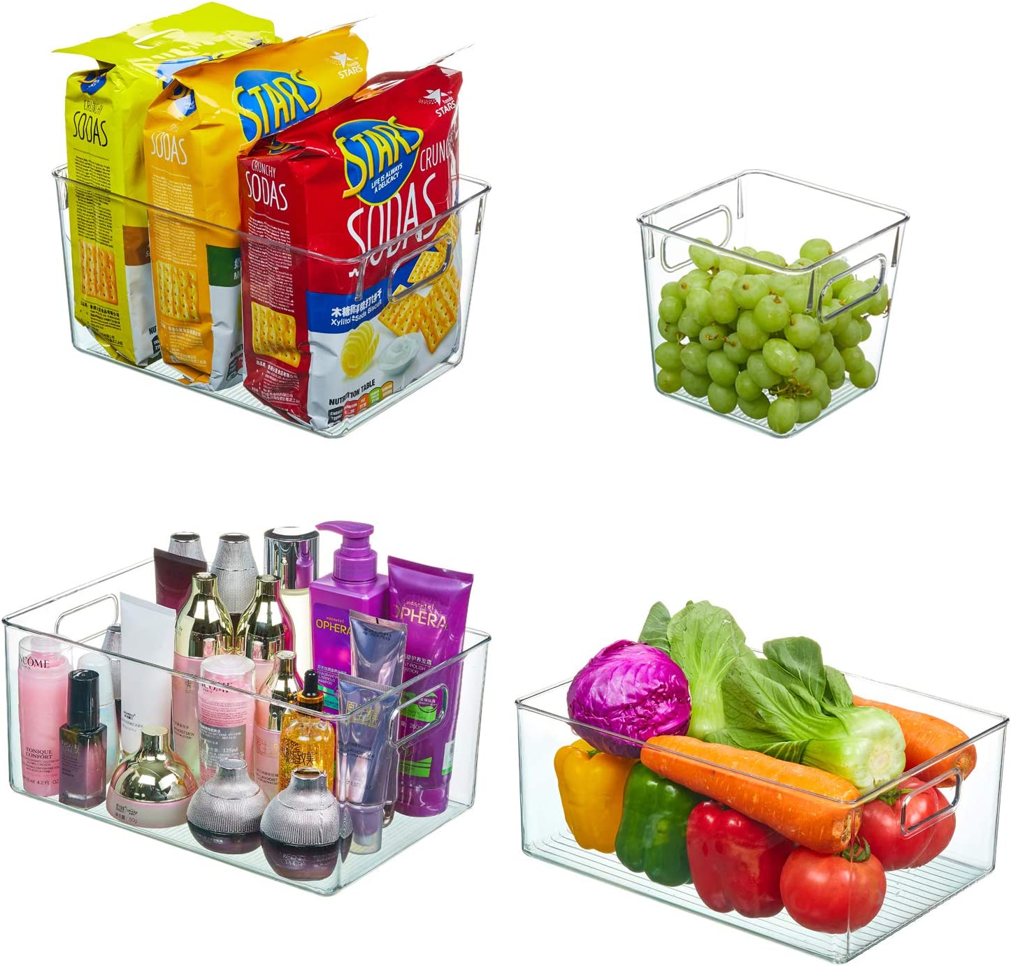 3unshine 4-Piece Set Refrigerator Storage Bins, Transparent Kitchen Food Pantry Cabinet, Storage Box with Handle-Organizing Tool, Suitable for Kitchen, Refrigerator, Cabinet, Refrigerator, Office