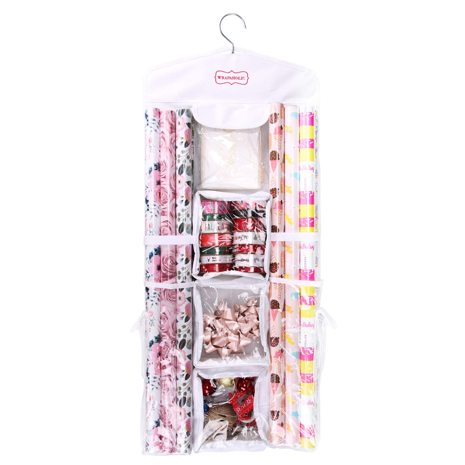 WRAPAHOLIC Hanging Gift Wrap Storage - Double Sided Wrapping Paper Storage Holder for Gift Bags, Bow, Ribbons, Wrapping Paper Rolls by WRAPAHOLIC