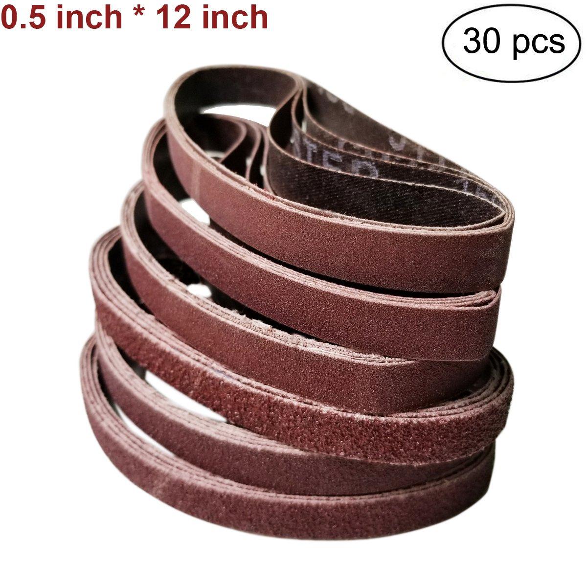 30 PCS Assortment 1/2 inch x 12 inch Coarse P60 P80 Grit/Medium P120 P240 Grit/Fine P400 Grit Knife Sharpene Aluminum Oxide Sanding Belts