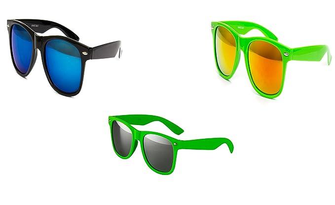 3 er Set Nerd Sonnenbrille Partybrille Festival Sunglass Stil Brille Schwarz Grün Rot 2 Farbig D323 EhkAh