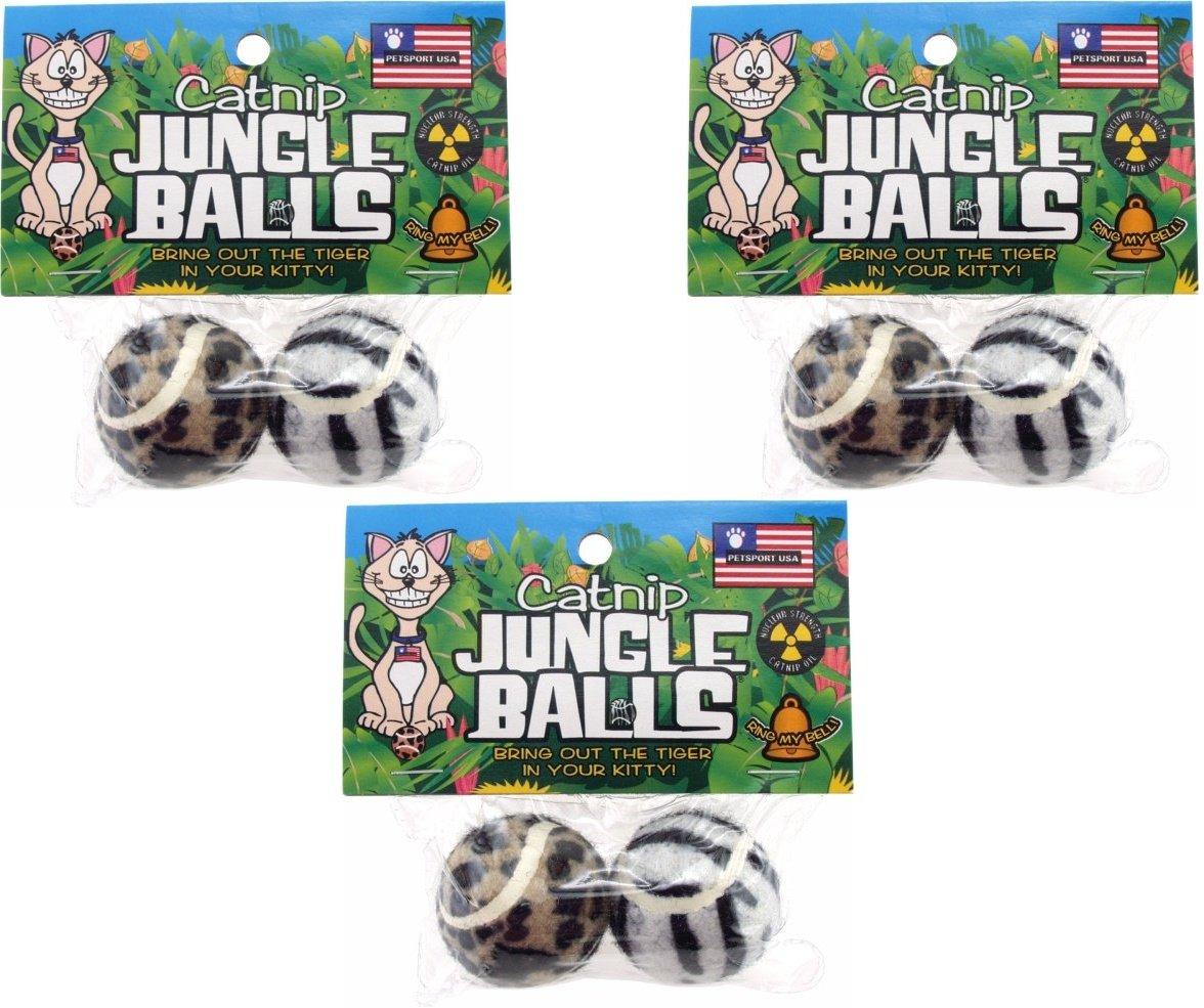 Petsport Catnip Jungle Balls (3 Packs with 2 Balls per Pack / 6 Balls Total)