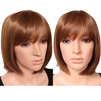 S-noilite UK Women Short BOB Full Head Wigs Straight Hair Cosplay Party  Daily Fancy Dress Synthetic Heat Resistant Light Brown  Amazon.co.uk  Beauty 4c9509c7bf