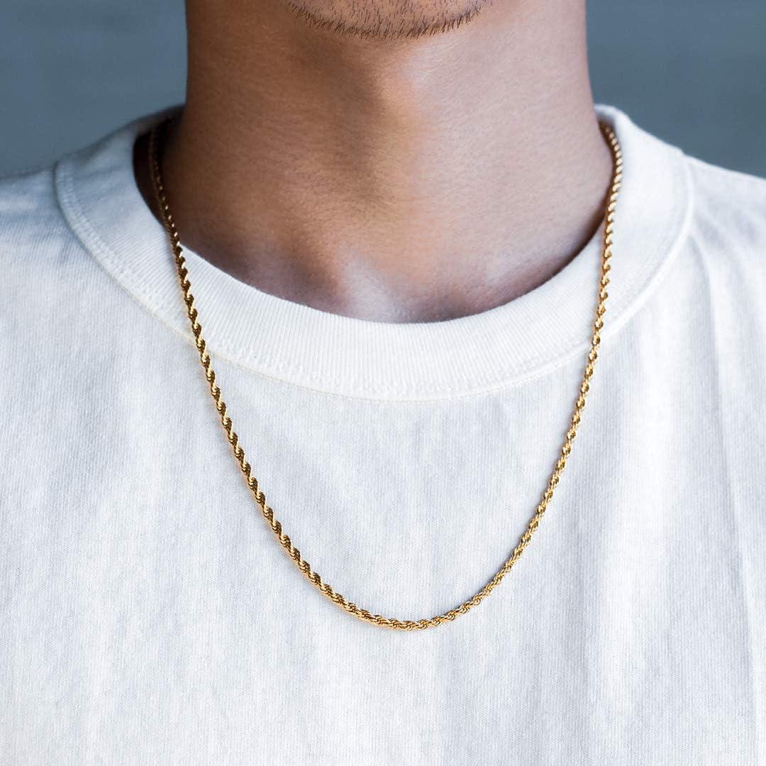 KRKC/&CO Collana Acciaio Uomo 3mm Collana a Catena Corda 18k Placcata Oro//Oro Bianco Rope Chain in Stile Hip Hop Rapper Casual Regalo di Natale 51-61cm