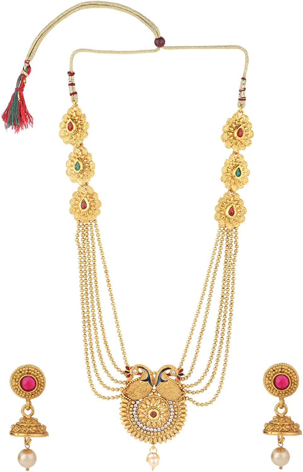 Efulgenz Indian Ethnic Bollywood Traditional Faux Ruby Emerald Rhinestone Heavy Bridal Designer Multistranded Peacock Lariat Necklace and Earrings Jewelry Set for Women and Girls