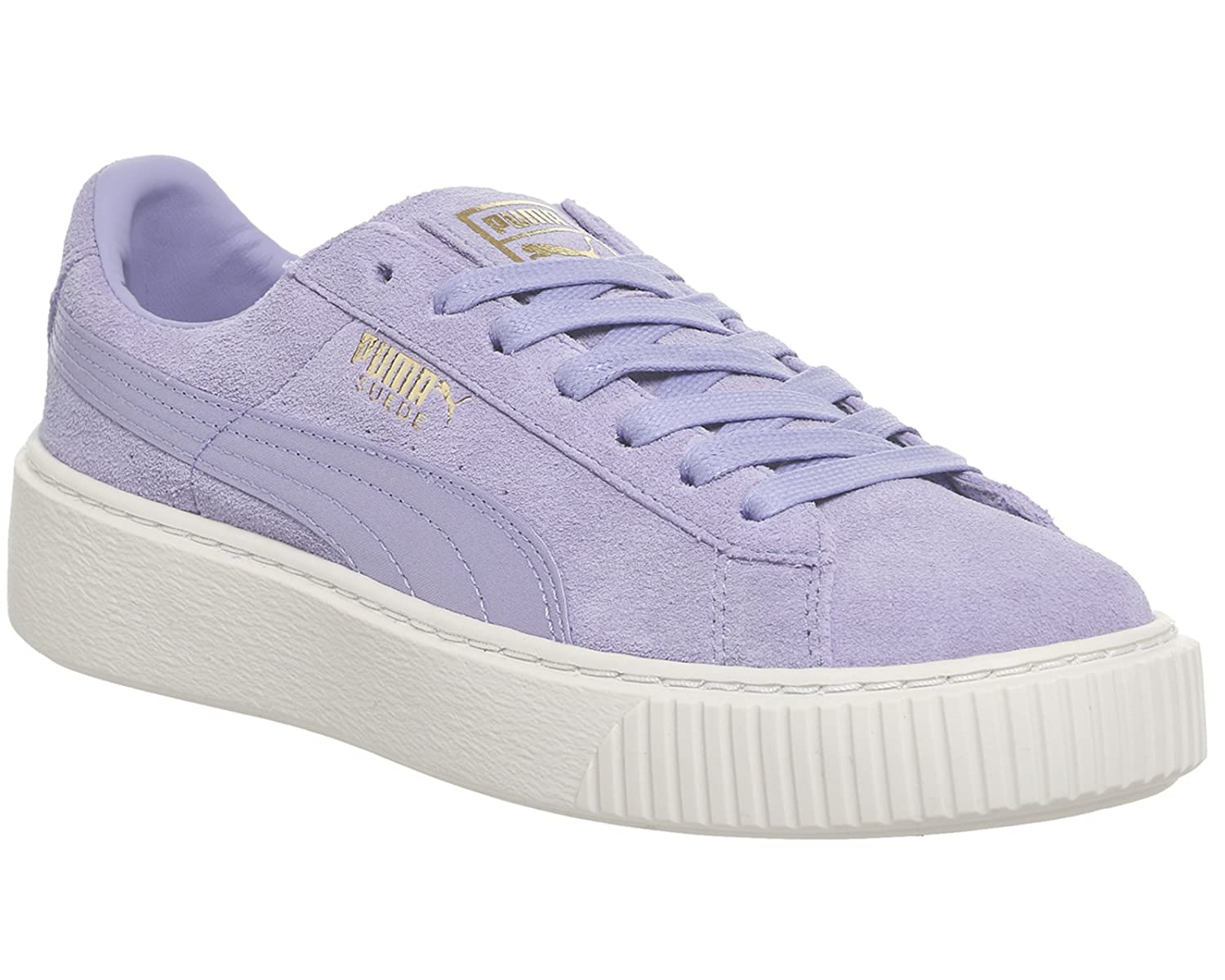 new concept 6ae2a cb25a Puma Womens Suede Platform Mono Satin Trainers in Sweet ...