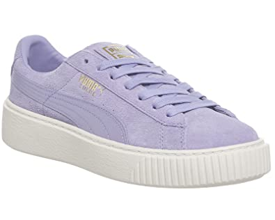 new concept 390b1 578fe Puma Womens Suede Platform Mono Satin Trainers in Sweet ...