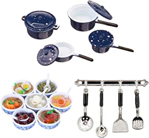 G0lden&Mang0 20Pcs Dollhouse Kitchen Set,1:12 Dollhouse Accessories 7Pcs Mini Toy Food Chinese Blue and White Pottery, 8Pcs Pots and Pans, 5Pcs Cookware Tools for Kids Gift