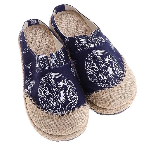 Baoblaze 1 Par Zapatos Planos de Lino Mocasines de Estilo Étnico Estampado de Dragón Zapatilla Baja para Ocio Deporte de Mujer Hombre: Amazon.es: Zapatos y ...