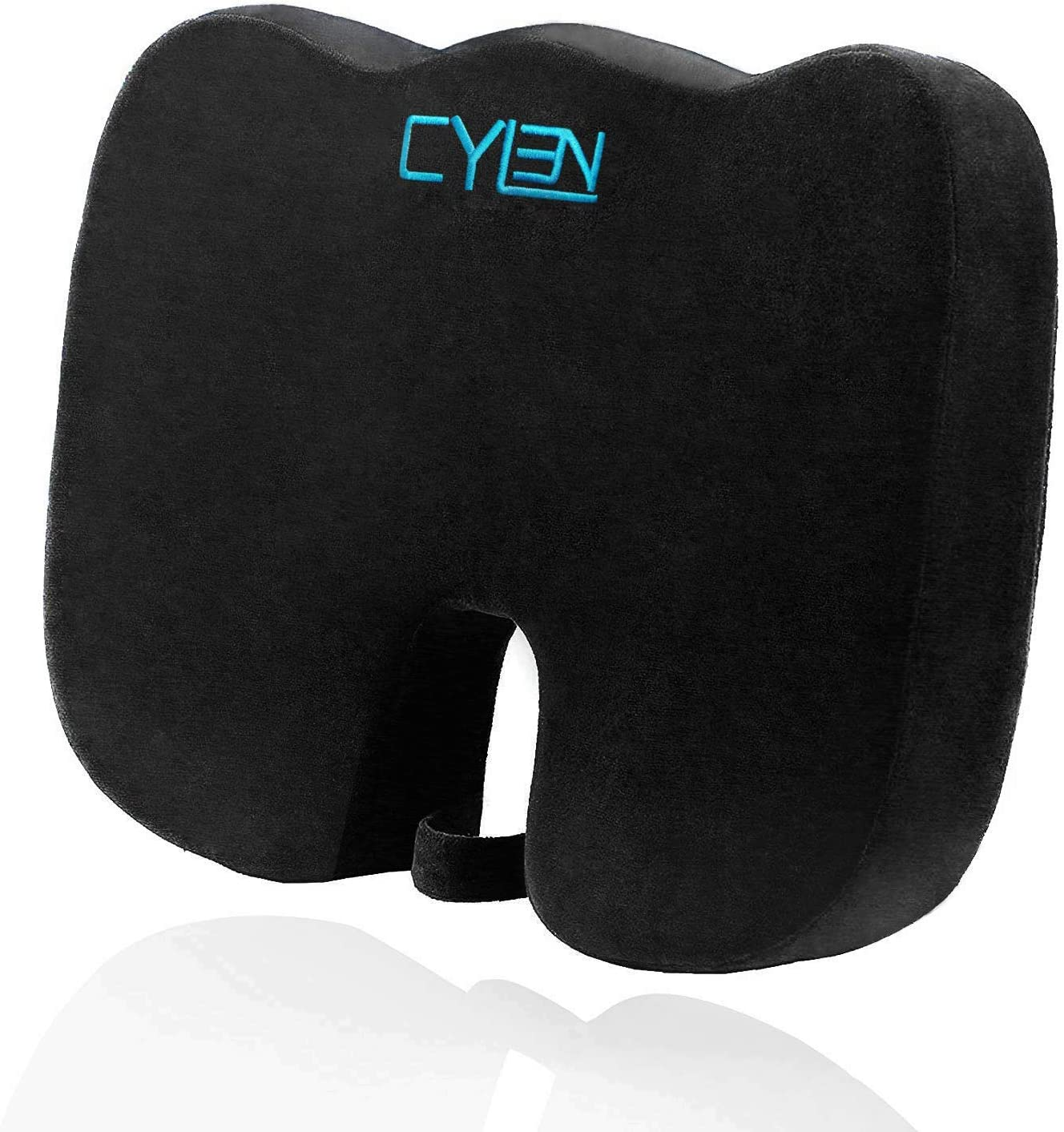 CYLEN Home-Memory Foam Bamboo Charcoal Infused Ventilated Orthopedic Seat Cushion for Car and Wheelchair - Washable & Breathable Cover (Black) 71vksV0YJDL
