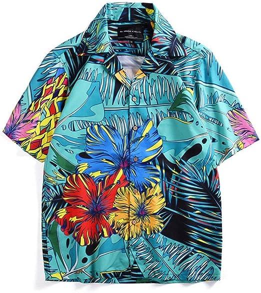 Feixunfan Camisas de los Hombres Camisa de Playa de Manga Corta con Estampado Floral Grande para