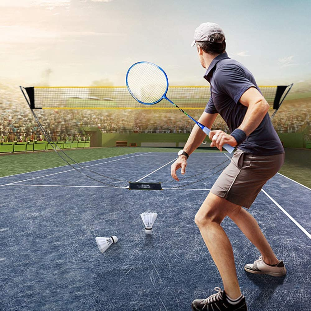 Portable Badminton Net Set with Stand Carry Bag Folding Volleyball Tennis Badminton Net for Ball Games Outdoor Team Sports,Scoreboard and Referee Whistle are Used to Increase The Fun