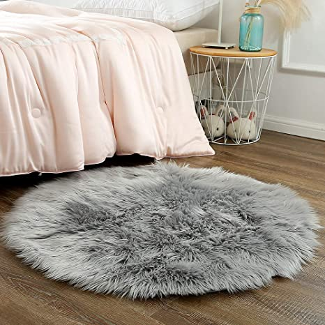 OJIA Faux Sheepskin Fur Rug Soft Fluffy Carpets Chair Couch Cover Seat Area Rugs for Bedroom Sofa Floor Living Room 2 x 3ft, Light Coffee