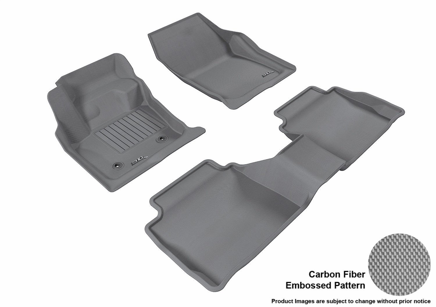 L1FR06011509 Kagu Rubber Black 3D MAXpider Front Row Custom Fit All-Weather Floor Mat for Select Ford Fusion Models