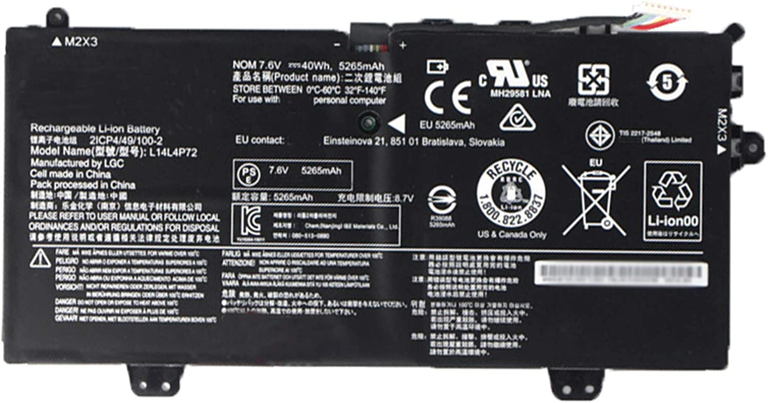 SUNNEAR L14L4P72 7.6V 40Wh 5265mAh Laptop Battery Replacement for Lenovo Ideapad Yoga 700-11ISK 80QE Series Notebook 5B10K10215 5B10J46130 L14M4P73