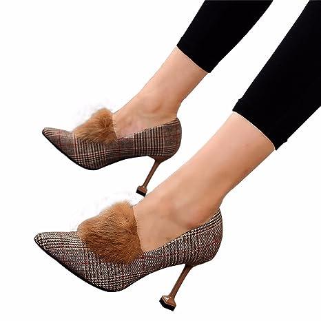 HBDLH Scarpe da donna/Comfort/Ha I Capelli 9Cm Scarpe Con Tacchi Alti Femmina L'Autunno E L'Inverno Superficiale Bocca…