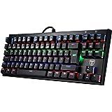 Mechanische Gaming Tastaturen, TOPELEK QWERTZ 87-Key Mini Gamer Tastaturen Gaming-tastaturen Spieltastatur, Mehr Farben Hintergrundbeleuchtung Keyclick für Gamer und Typisten