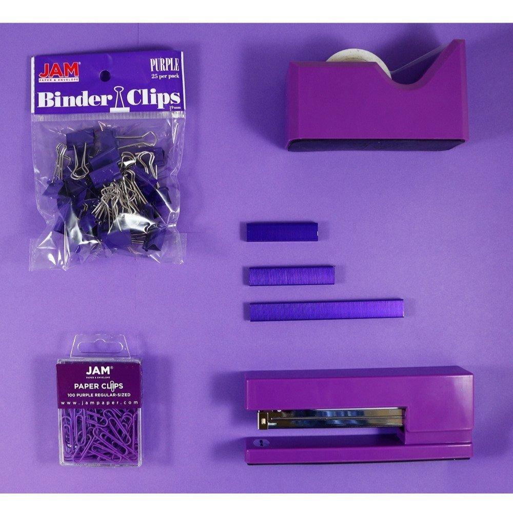 JAM PAPER Office Starter Kit - Purple - Stapler, Tape Dispenser, Staples, Paper Clips & Binder Clips - 5/Pack by JAM Paper (Image #3)