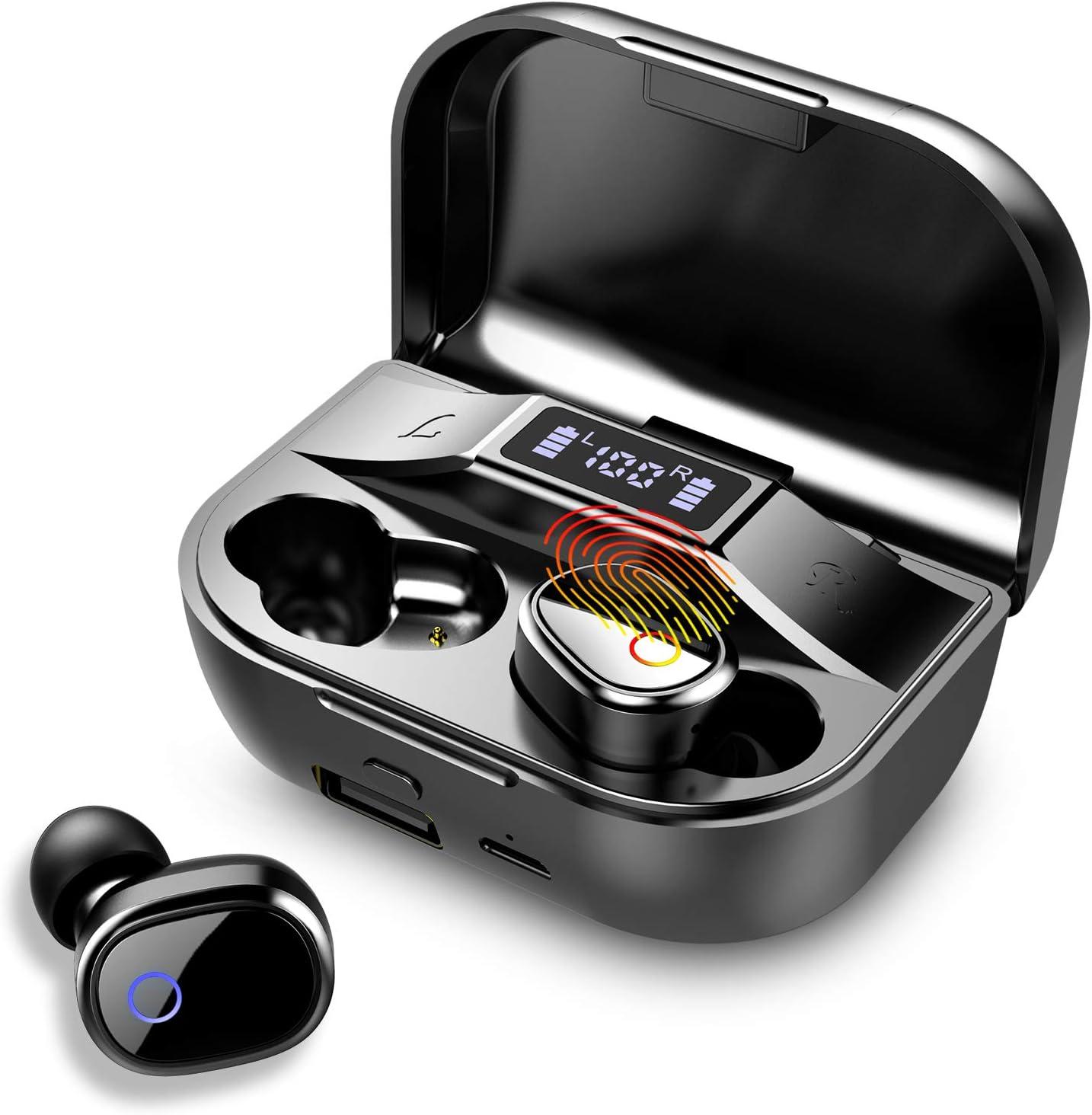Auriculares Bluetooth, Estéreo Auriculares Inalámbricos Bluetooth 5.0 con Micrófono Integrado Incorporado, IPX7 Impermeable In-Ear Auriculares con 2000mAh LED Caja de Carga Portátil