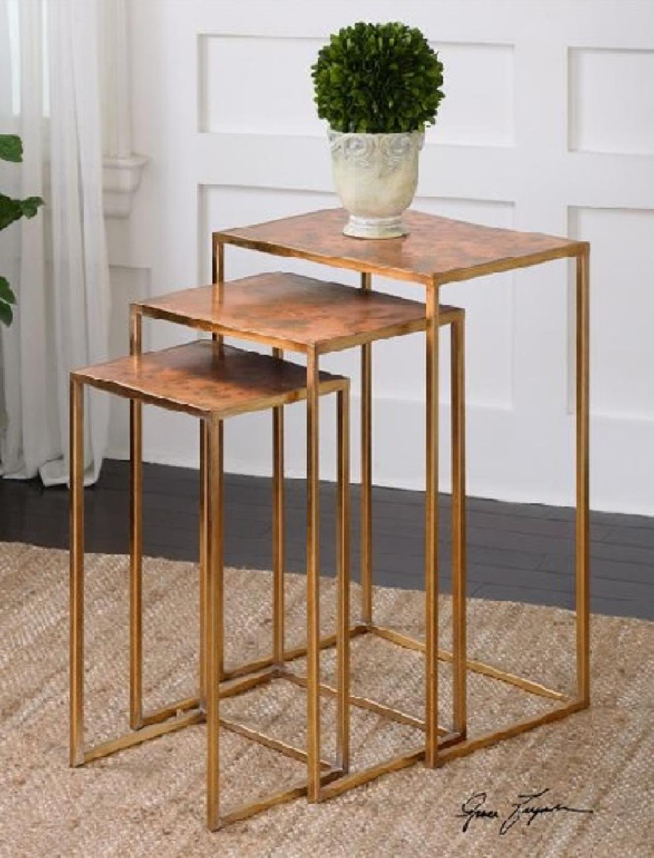 Set of 3 Oxidized Copper Decorative Nesting Tables 27''