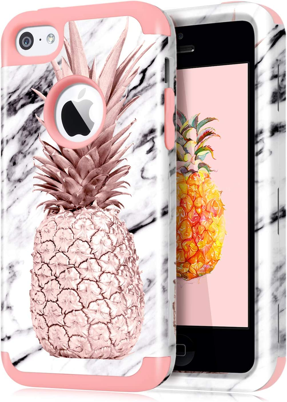 Dailylux Shockproof Case for iPhone 5 / 5C / 5S / SE, PC + Soft Silicone Three Layers Armor Anti-Slip Protective Defensive Hard Back Cover, Marble Pineapple