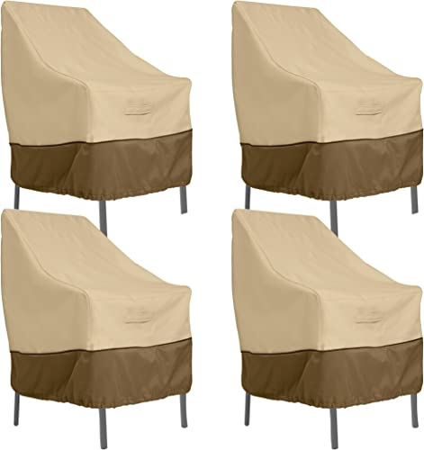 Classic Accessories Veranda Water-Resistant 25.5 Inch High Back Patio Chair Cover, 4-Pack