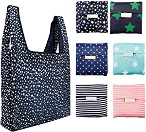 Bagku,Pack of 6,Reusable Grocery Bags Foldable Grocery Tote Bags Reusable Shopping Bags, Eco Friendly Machine Washable Shopping Tote Bags, Ripstop Durable Lightweight Shopping Bags