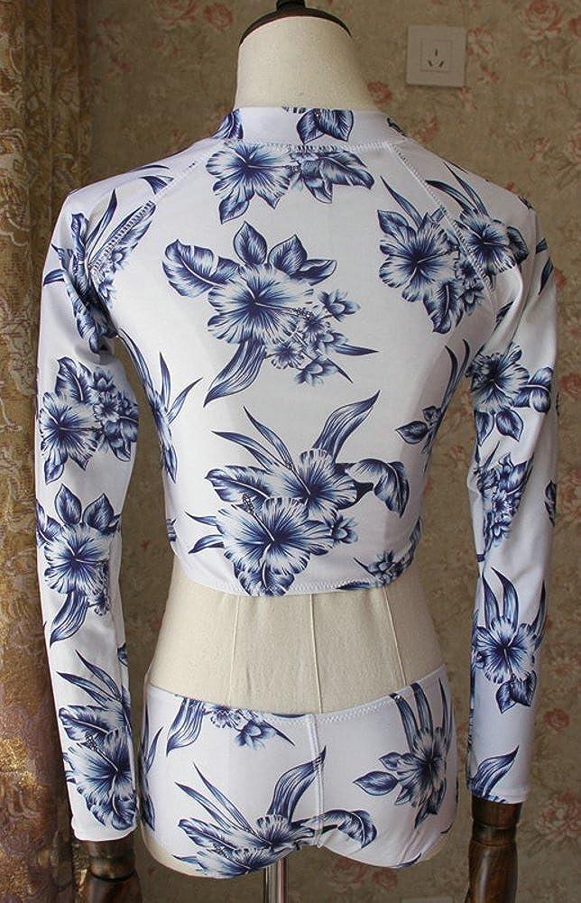 ilishop Womens Printed Long Sleeve UV Protection Rash Guard Swimwear Beachwear