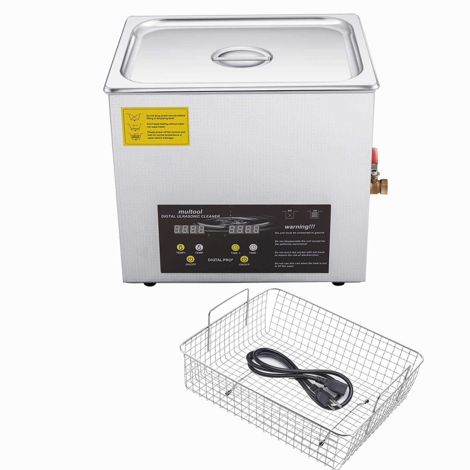 Ultrasonic Cleaner with Digital Heater Timer,15 Liters Capacity,Adjustable Power,Parts Basket by multool