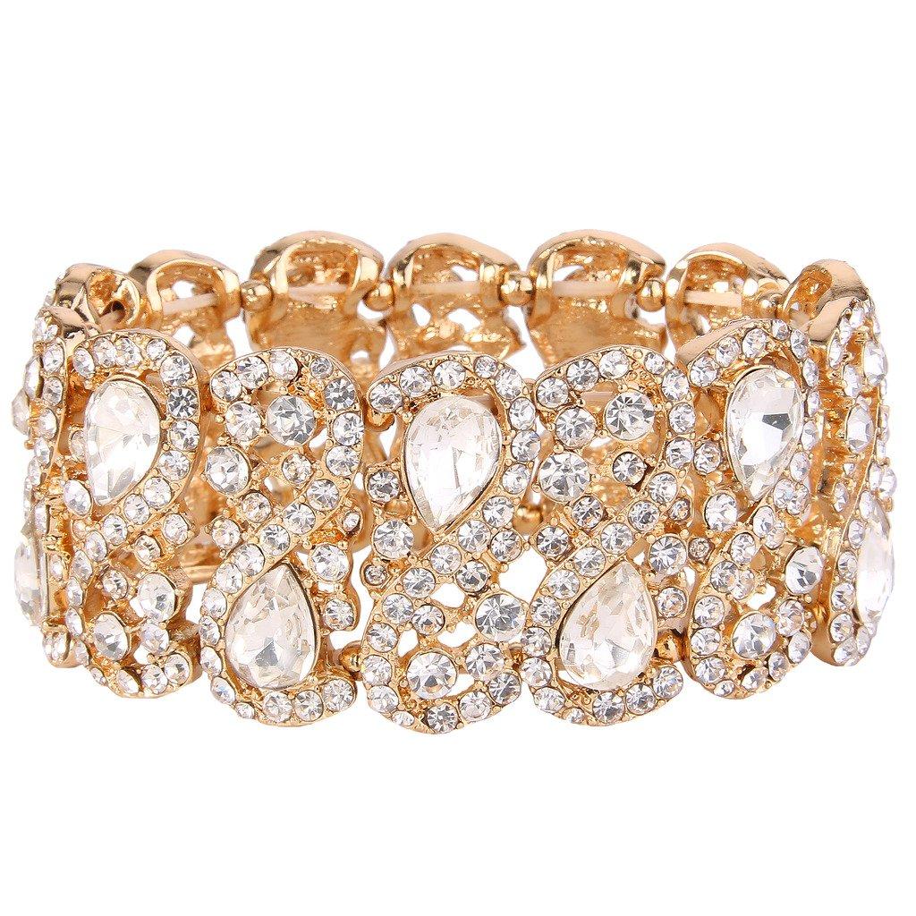 EVER FAITH Women's Austrian Crystal Teardrop 8-Shaped Knot Elastic Stretch Bracelet Clear N08234-2