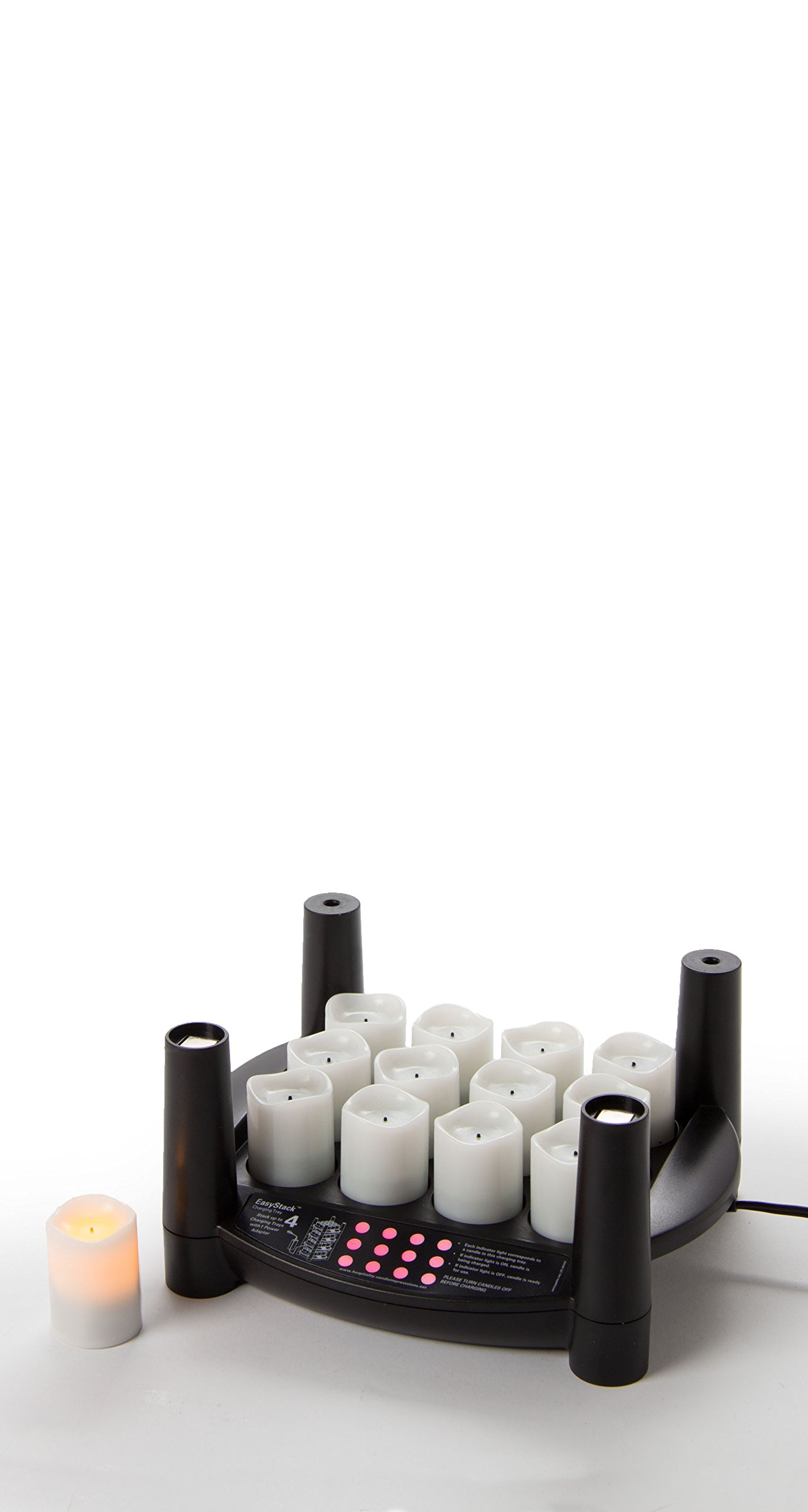 Sterno 12 Piece Warm White Flameless Votive Replacement EasyStack Charging Base Products 60132 Rechargeable Candle Set
