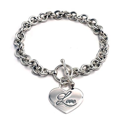 5f0e3ec77 Amazon.com: Engraved Heart Charm Round Link Bracelet in Sterling ...