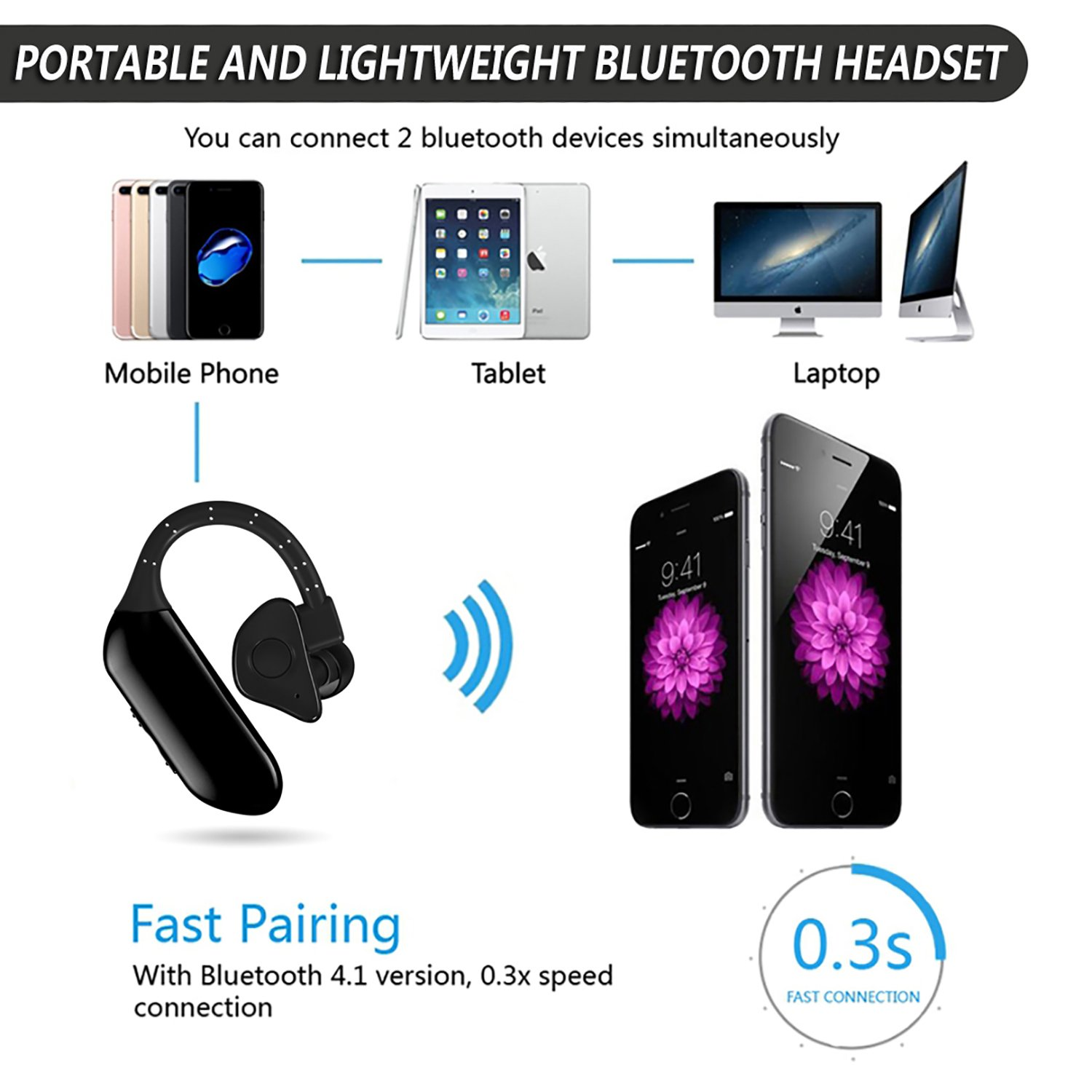Amazon.com: EXPIDEA Single Bluetooth Headphone Wireless Mini Earbud In-ear Hands-free Earpiece Built in Microphone Bluetooth v4.1 Dual Battery Separable ...