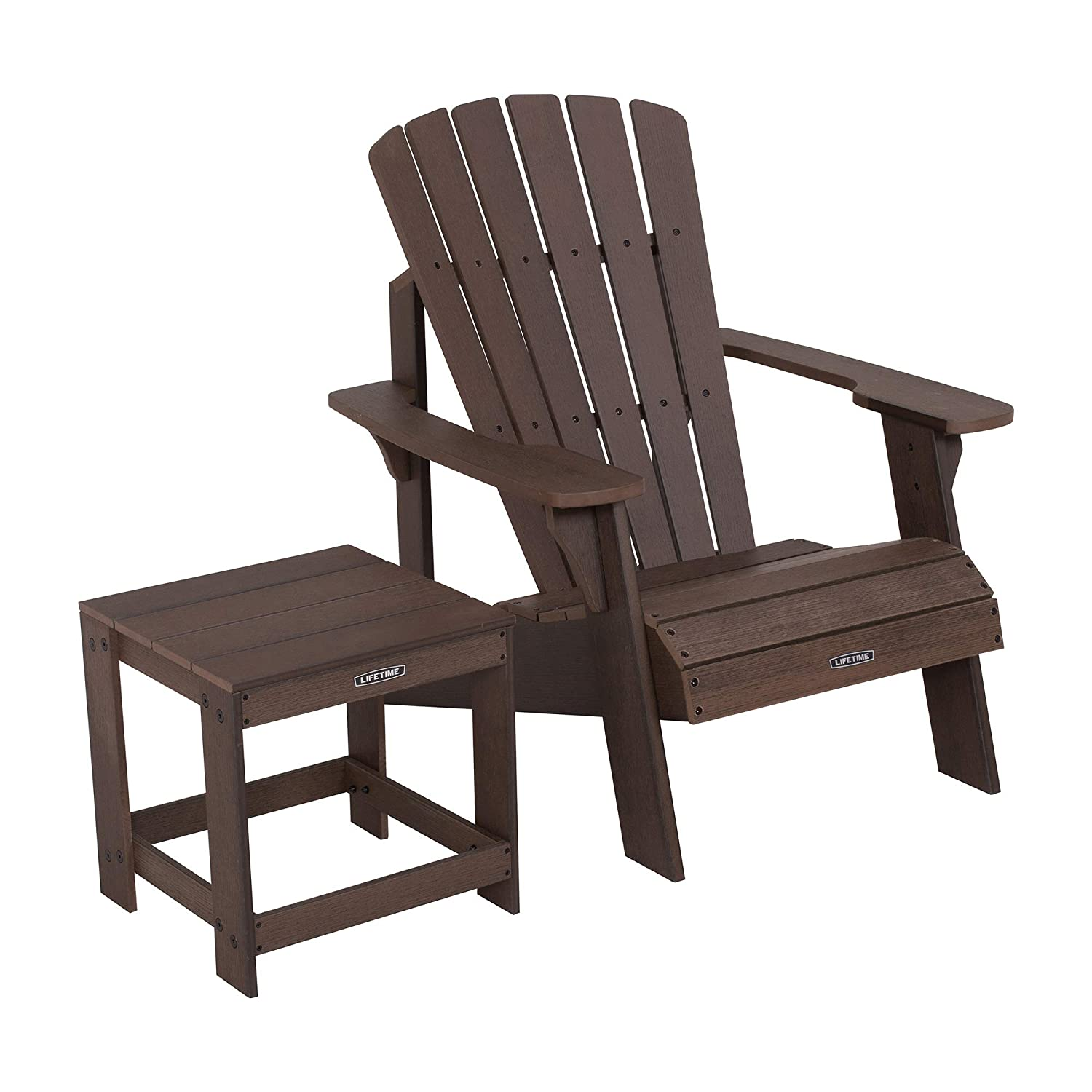 Lifetime 60293 Adirondack Chair and Table Combo, Rustic Brown