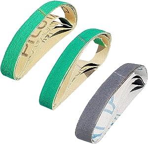 "12 Pcs 1/2"" x 10"" Replacement Belt Kit for Work Sharp Combo Knife Sharpener (model WSCMB)- Coarse, Medium and Fine Grits"