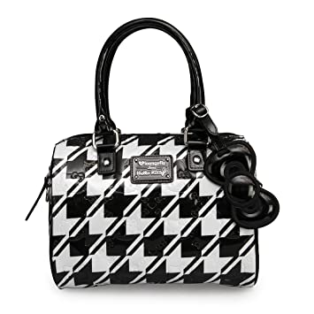 d5b99a0fa8a1 Image Unavailable. Image not available for. Color  Hello Kitty Loungefly  Houndstooth Black White Embossed Tote Bag ...