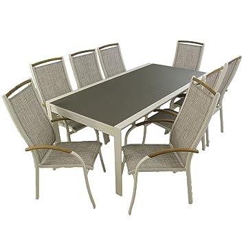 Edenjardi Conjunto Mesa Extensible 200/300 y 8 sillones de ...