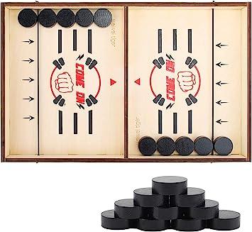 Kind Interaktives Spielzeug-Partyspiel Bouncing Brettspiel 8 Colmanda Brettspiel Hockey Katapult Brettspiel Wooden Hockey Game Table Brettspiel Fast Sling Puck Game Spiel Holz Katapult Schach
